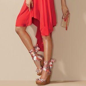 New!! Bebe Scarf Wedge Sandal